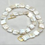 <b>Wedding</b> Woman <b>Jewelry</b> 10-13mm White Gray Real Pearl square Choker Necklace Natural Freshwater Pearl Handmade