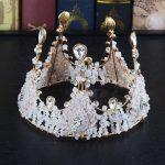 Brand European Ladies Luxury Crystal Alloy Queen Crown Headband Bride Pearl Tiaras Headwear <b>Wedding</b> Hair <b>Jewelry</b> Accessories
