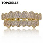 TOPGRILLZ Custom Fit Gold <b>Silver</b> Color Iced Out Hip Hop Teeth Grillz Micro Pave Cubic Zircon Top & Bottom Teeth Grills Set