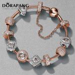 DORAPANG 2017 NEWEST 100% 925 Sterling <b>Silver</b> Rose gold <b>bracelet</b> suits Clear CZ Charm Bead fit <b>Bracelet</b> DIY For Women Jewelry