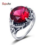 Szjinao Best Sellers of Women Party <b>Jewelry</b> Gorgeous Solid 925 Sterling <b>Silver</b> Red Ruby Big Rings Size 10 9 8 7 6 5