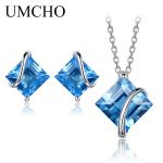 UMCHO Pure 925 Sterling <b>Silver</b> Jewelry Set Natural Swiss Blue Topaz Stud <b>Earrings</b> Pendant For Women Jewelry Necklace With Chain