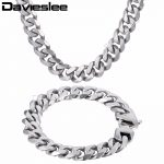 Davieslee Mens Necklace <b>Bracelet</b> Matte Jewelry Set <b>Silver</b> Tone 316L Stainless Steel Chain Curb Cuban Link DHS42