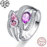 J.C Charms Accessory Amethyst Morganite Citrine Pink White Topaz 925 <b>Sterling</b> <b>Silver</b> Ring Size 6 7 8 9 Wedding Fine <b>Jewelry</b>