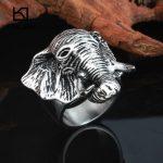 Kalen Rock Animal Male Rings Size 8-12 Stainless Steel Elephant Head <b>Antique</b> Men's Finger Rings Biker Dropshipping <b>Jewelry</b> Rings