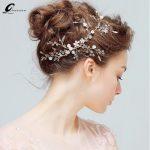 New <b>Wedding</b> Tiaras Bridal Flower Hair Accessories Clear Crystal Hair Vine Hairband Pearls Party Headpiece Bride Hair <b>Jewelry</b>