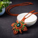 BOEYCJR Natural Stone Necklace Long Chain <b>Handmade</b> Ethnic Vintage <b>Jewelry</b> MACRAME Pendant Necklace For Women Gift 2018