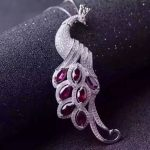 natural red garnet stone pendant S925 <b>silver</b> Natural gemstone Pendant Necklace trendy luxurious Long peacock women girl <b>jewelry</b>