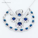 L&B New Blue crystal White crystal <b>Silver</b> Color 925 Stamp Jewelry Sets Drop Earrings Necklace Pendant Ring <b>Bracelet</b> For Women