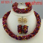 Fashion African <b>Handmade</b> Beads Layer <b>Jewelry</b> Set Women Summer Winter Choker Necklace Earrings Female Mother Party Gifts XF101-2