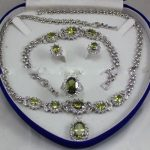Prett Lovely Women's Wedding Charming!Peridot Inlay Link Bracelet earrings Ring Necklace Set + Gift Box 5.23