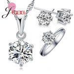 JEXXI Woman's Birthday Gift <b>Wedding</b> <b>Jewelry</b> Set Fashion 925 Sterling Silver Crystal Necklace Ring Earring 3 pcs/set