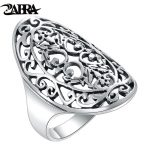 ZABRA 925 Sterling Silver Women Rings Hollow Out National Wind Restoring Ancient Ways Silver Ring For Girlfriend Gift <b>Jewelry</b>