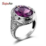 Szjinao Solid 925 <b>Silver</b> Ring Big Oval Amethyst Victoria Wieck Wedding <b>Jewelry</b> With Semi-precious stones Large Size Womens Rings