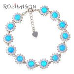 Zirconia surround Stamped sterling Silver Blue fire Opal Bracelet Generous For teen girl <b>Jewelry</b> OB058