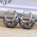 V.YA 2018 Vintage Flower Hoop Earrings 925 Sterling Silver Earrings Brincos Women Mother Day Gift Fine <b>Jewelry</b>