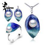 MINTHA Pearl Jewelry sets 925 Sterling <b>Silver</b> stud <b>earrings</b>,natural Pearl leaf necklace for women Cloisonne <b>earrings</b> ring set