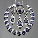 <b>Silver</b> 925 Costume Wedding Jewelry Sets Women Blue Zircon Charms <b>Bracelet</b> Pendant Necklace Earrings Rings Set Jewellery Gift Box