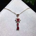 natural red ruby stone pendant 925 <b>silver</b> Natural gemstone Pendant Necklace Fashion Cute stars tassel Child women party <b>jewelry</b>