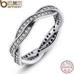 925 Sterling Silver BRAIDED PAVE SILVER RING with Clear CZ Authentic Twist Of Fate Stackable Twisted Ring <b>Jewelry</b> PA7116