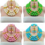Charming Imitation Pearl Balls <b>Handmade</b> African <b>Jewelry</b> Set Wedding Party Beads Necklace Women Fashion Set Free Shipping ABY337