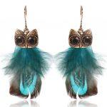 SHOWTRUE For Women Cute Feather Earrings Trendy Luxury Boho Owl Classic Dangle Earrings Bijoux Indian <b>Native</b> <b>American</b> <b>Jewelry</b>