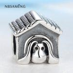 Authentic 925 Sterling Silver Bead Charm <b>Antique</b> European Dog House Beads Fit Pandora Bracelets & Bangles DIY <b>Jewelry</b> SS0783
