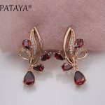 PATAYA New Arrivals Pomegranate Red Water Drop Natural Zirconia Dangle Earrings Women 585 Rose Gold Wedding Party Trendy <b>Jewelry</b>