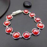 Synthetic Red Stone <b>Bracelets</b> Pure 925 Sterling <b>Silver</b> 20CM S925 Thai <b>Silver</b> Chain <b>Bracelet</b> for Women