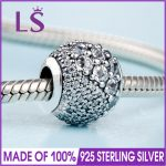 2018 Spring New In 925 <b>Silver</b> Clear Enchanted Pave Charm Fit Original Bracelets&<b>Necklace</b> DIY Gift.Women Wedding Jewelry Beads.N