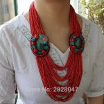 NK202 Tibet Ethnic <b>Jewelry</b> Flower Pendant Necklace <b>Handmade</b> Nepal Multi Rows Mini Beaded Necklace