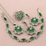 Women Green Cubic Zirconia <b>Silver</b> Color Wedding Jewelry Sets Earrings Necklace Four Colors Stone Ring <b>Bracelet</b> Free Jewellry Box