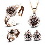 Women's Wedding Original short AAA Crystal chain Beautiful lady Pendant Necklace Earring Ring Bracelet set suit silver-<b>jewelry</b>