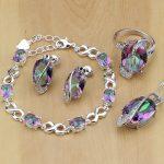 Mystic Rainbow Fire Australian Crystal 925 Silver <b>Jewelry</b> Set For Women <b>Wedding</b> Earrings/Pendant/Necklace/Rings/Bracelet