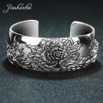 JIASHUNTAI Retro 925 Sterling Silver Bangles For Women Lotus Flower Vintage Silver <b>Jewelry</b> Female Handmade Opening