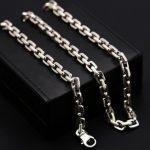 7mm creative square cross box chain link <b>silver</b> necklace <b>sterling</b> 925 <b>silver</b> <b>jewelry</b>