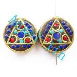 (5 pieces/lot)Nepal Tibetan Type Manual <b>Antique</b> Bead, Flat Round Brass Embed Imitation Turquoises H64463 21x8mm