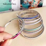 Authentic 925 Sterling <b>Silver</b> Original 7 Colors Radiant Hearts Of Bangle With Clear Cubic Zirconia Fit Pan <b>Bracelet</b> DIY Jewelry