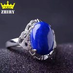 Natural Genuine Lapis Lazuli stone ring Solid 925 <b>sterling</b> <b>silver</b> Woman <b>jewelry</b> rings blue gems