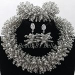 <b>Handmade</b> Gray Grey Crystal African Wedding Beads Bridal <b>Jewelry</b> Sets Women Wedding&Party Choker Necklace Free Shipping ABK864