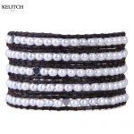 KELITCH <b>Jewelry</b> Top Quality Natural Freshwater Pearl Women Bracelets 5 Wrap Leather Chain Beaded Heart <b>Handmade</b> Bracelet Pulsera