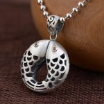 FNJ 925 Silver Pendant Double Fishes Red Cubic Zircon 100% Pure S925 Solid Thai Silver Pendants for Women Men <b>Jewelry</b> <b>Making</b>
