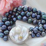 FREE SHIPPING>>>@@ 0639 3row 8″ black round freshwater pearl <b>bracelet</b>