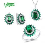 VISTOSO Jewelry Sets For Woman Green spinels Stones Jewelry Set <b>Earrings</b> Pendant Ring 925 Sterling <b>Silver</b> Fashion Fine Jewelry