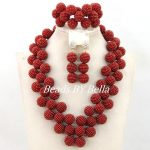 Hot Design Burgundy Nigerian Wedding Bridal Jewelry Set Costume Necklace African Beads Jewelry Set New Free Shipping ABY852