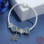 BISAER Femme 925 <b>Sterling</b> <b>Silver</b> Snowflake Charm Radiant Heart Crystal Star Blue Charm Bracelets for Women <b>Jewelry</b> pulseras