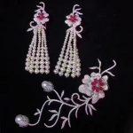 bridal jewelry sets natural fresh water pearl tassels <b>earring</b> and brooch sets 925 sterling <b>silver</b> flower long <b>earring</b> fine jewel