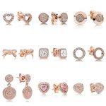 9 Style 1 Pair Women Ear Studs Rose Gold Color Bowknot Heart Crystal Diy Earrings High Quality Earring Women <b>Wedding</b> <b>Jewelry</b>