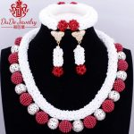 Italy Dubai Choker Crystal Necklace Set Pure White Beads Wine <b>Silver</b> Balls African Nigerian Wedding Turkish Jewelry Set Fashion