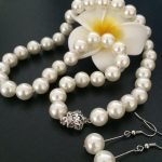 White simulated-pearl 8mm round trendy shell beads diy hot sale for woman necklace earrings <b>jewelry</b> set <b>making</b> 18 inch MY2008